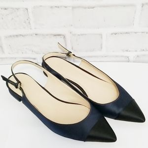 J.Crew Slingback Pointed Toe Satin Shoes 7-1/2